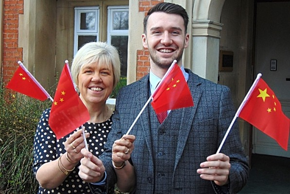 The Travel Visa Company's Karen Taylor Joint MD and Dan Hutt Head of China Department celebrate the launch of their new China Visa offering