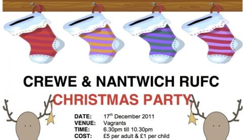 Crewe & Nantwich RUFC to hold Vagrants Christmas party
