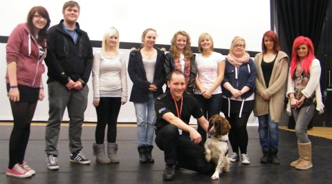 Police dog Will entertains South Cheshire College students