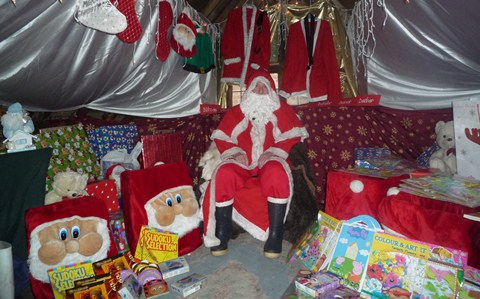 Father Christmas sets up his Grotto at Nantwich Bookshop