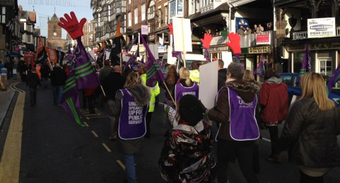 Hundreds march in Cheshire towns on national strike day