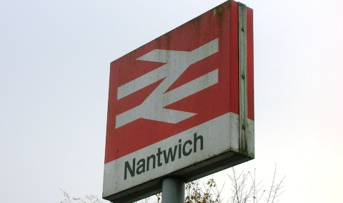 train hit person - Arriva Trains Wales - Nantwich railway station sign