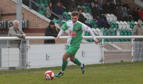 Two against Rushall - Sean Cooke, Nantwich Town (pic by Simon J Newbury) sent off at Buxton