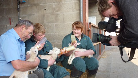 TV's Fred Talbot enjoys Reaseheath College's lambing event