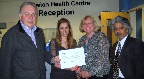 Nantwich Health Centre donates £1,000 to Age UK Cheshire