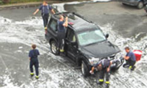 Nantwich firemen stage charity car wash at Beam Street station
