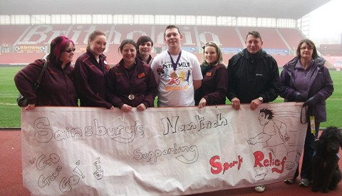 Nantwich Sainsbury's worker joins top boss for Sport Relief event