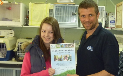 Teenager raises hundreds for RSPCA's Stapeley Grange wildlife centre