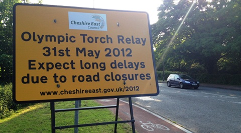 Olympic Torch road closure sign