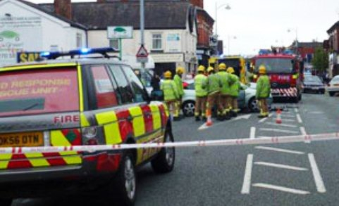 Man trapped in serious road accident on Nantwich Road