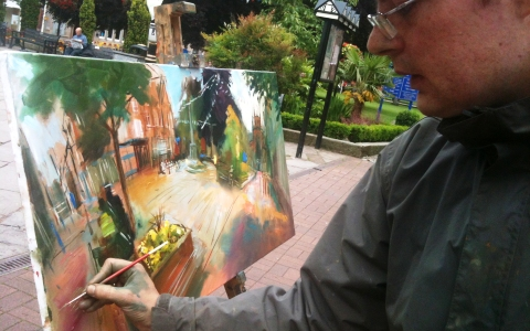"""Canal artist stops off in Nantwich during """"Year of the Boat"""" journey"""