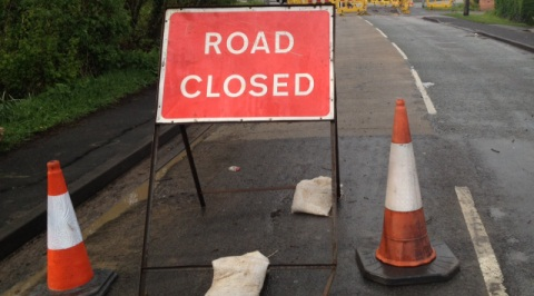 A500 closed - highways roadworks sign (pic by Jonathan White)