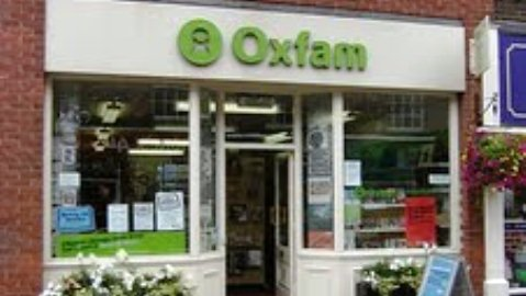Oxfam shop in Nantwich - bird book donation