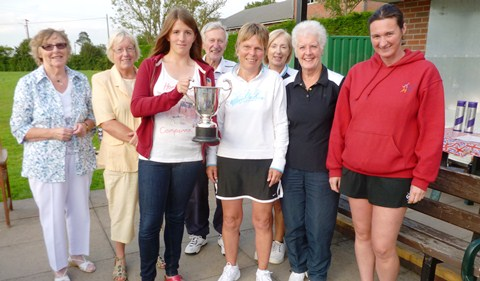 Nantwich Tennis Club Ladies A team with the 2012 Ladies Division 1 cup