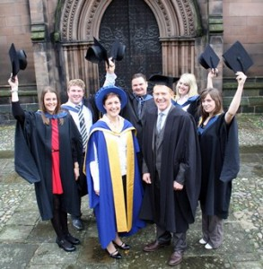 Agriculture grads Jessica Hurren, Phillip Berry, Andrew Vickers, Kirsty Bellfield, Amy Atkin with Jane Richardson and Adam Henson