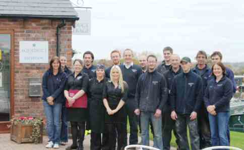 Staff at Aqueduct Marina near Nantwich celebrate IIP award