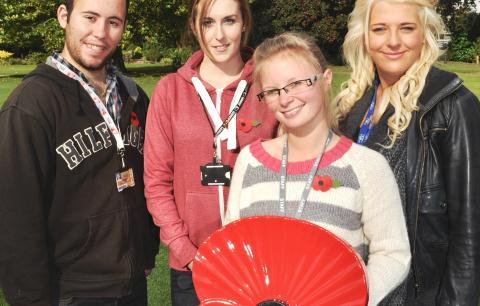 Reaseheath students Ben Lloyd, Ceara McDermott, Sophie Pegg, Imogen Johnson with poppy