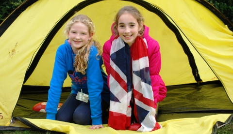 Eva Barlow and Grace Barnett try out a tent