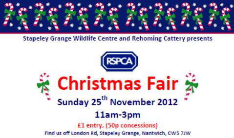 Stapeley Grange RSPCA wildlife centre set Christmas Fair date
