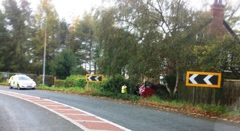 Pensioner injured in A534 garden crash at Acton, Nantwich