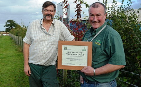 Reaseheath hedgerow award Leigh Cawley and Mark Yearsley