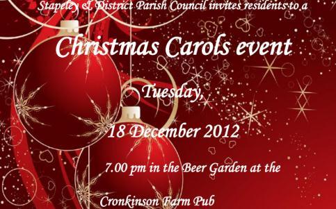 Stapeley's Cronkinson pub to host community carol singing event