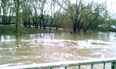 Latest flooding pictures of River Weaver in Nantwich