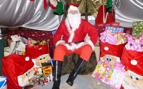 Santa in his Grotto in Nantwich Bookshop