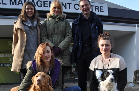 Laura Quickfall and Victoria Brown (The Kennel Club), Paul Hodson (Blue Cross), Lucinda Caton-Tanner with Zak and emma Chapman with Poppy