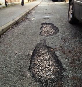 South Crofts in Nantwich, has 50 pot-holes