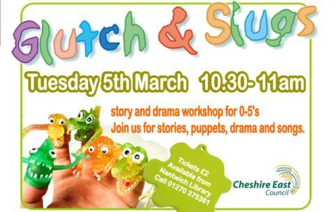 "Nantwich Library to stage ""Glutch & Slugs"" kids' group"
