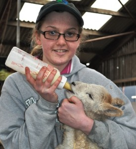 Reaseheath student Sarah Hill,19, bottle feeding lamb