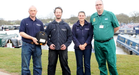 Nantwich marina equipped with life-saving defibrillator from NWAS