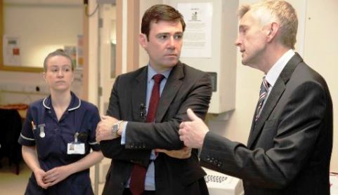 Shadow Health Secretary Andy Burnham tours Leighton Hospital A&E
