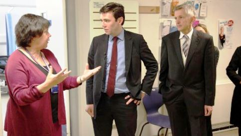 Andy Burnham, with Verity Lockett (Service Manager for Emergency Care) and Dr Adrian Heald (Consultant)