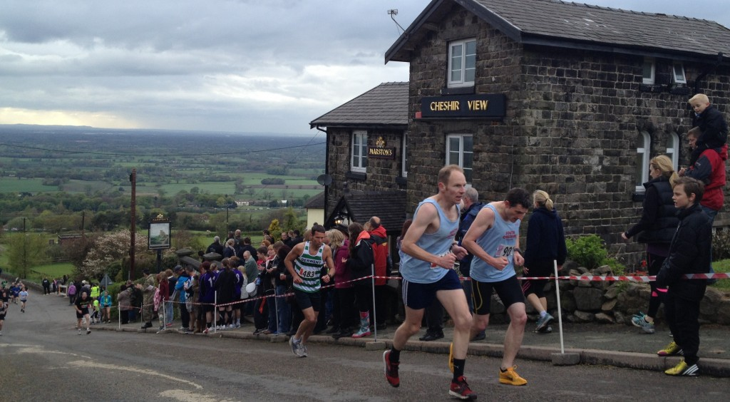 Two South Cheshire Harrier runners on the steepest section