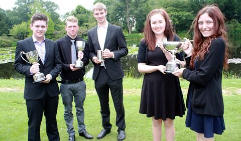 cross college awards Luke Evans, David Power, James McKenzie, Lucy Simm and hayley Carr