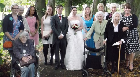 Nantwich care home residents celebrate assistant's wedding