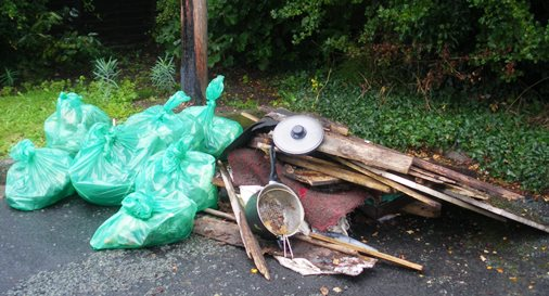 Nantwich Litter Group uncovers fly-tipping horror under hedge