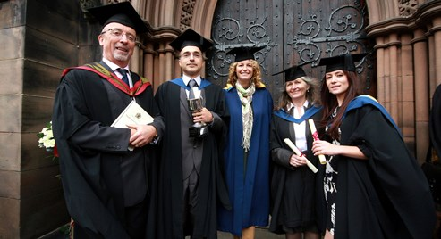Kate Humble and Meredydd David with 1st class hons grads Jillian Griffith and Sarah Forrester and Pedro dos Santos, Eden student of the yr