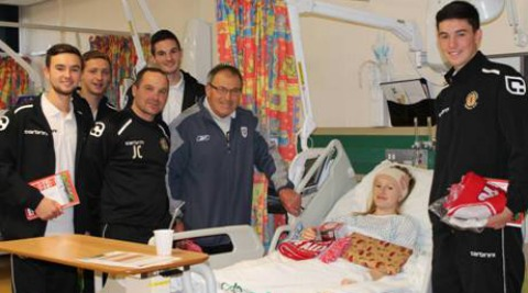 Dario Gradi and Crewe Alex stars visit Leighton Hospital children