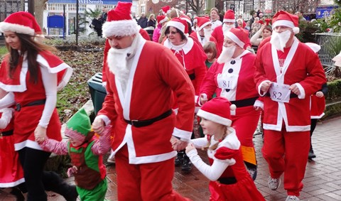 Hundreds enjoy charity Santa Dash in Nantwich town centre