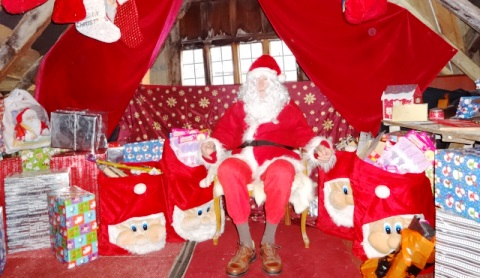 Santa sets up his busy Grotto at Nantwich Bookshop