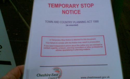 "Residents joy as developers on Nantwich site served with ""stop notice"""