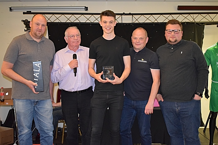 2018-19 NTISA Edencroft Player of the Month Overall Winner Joe Malkin with his award from Nantwich Town Independent Supporters Association (NTISA) (1)