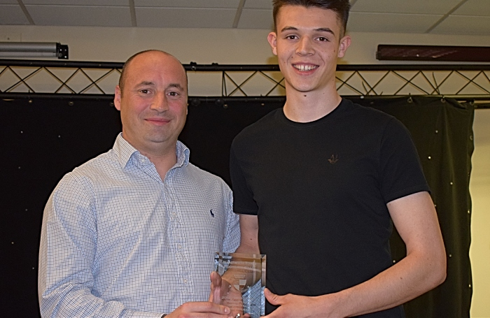 2018-19 Young Player of the Year - Chris Dodgson from Kindertons presents the award to Joe Malkin (1)
