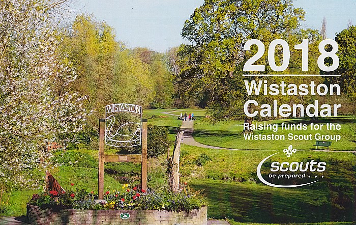 2018 Wistaston Calendar - front cover, raising Scout group funds