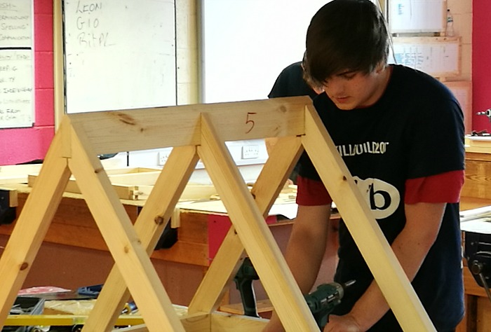 Jamie in Carpentry class at South Cheshire College
