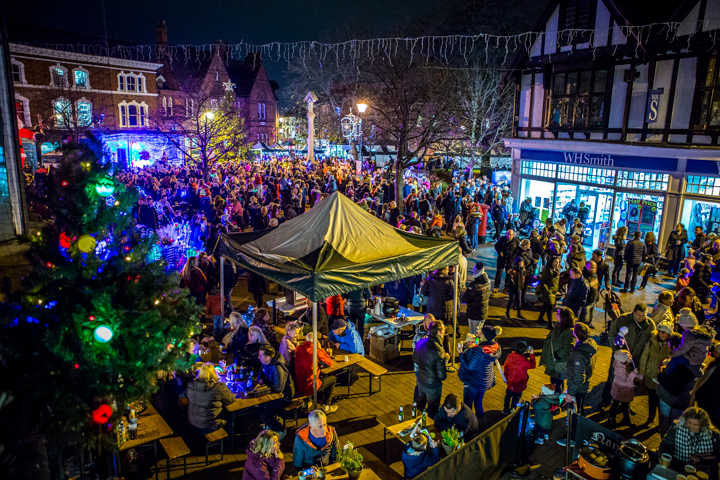 Nantwich lights switch on town square