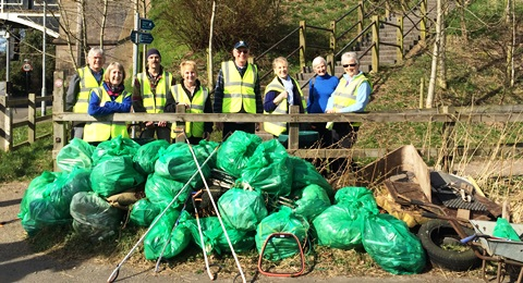 Nantwich Litter Group blitz canal banks with 30 bags of rubbish